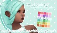 "riseofthecowplants: "" ► Elliot Hair by @wildlyminiaturesandwich Recolored by @riseofthecowplants ► INFO: • You need this mesh for this recolor to show up! • Stand Alone Item • Custom Thumbnail • 30 Colors •  TOU: Credit where due and don't..."