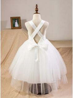 Ball Gown Tea-length Flower Girl Dress - Satin/Tulle/Lace Straps With Bow(s) (010094098) - JJsHouse