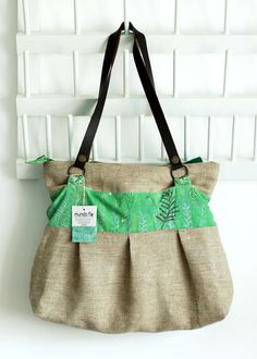 Linen tote bag with ferns painted and leather handles by mundoflo. $81.00, via Etsy.
