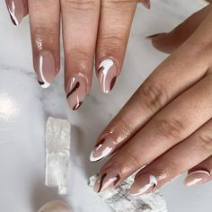 Shiny Nails, Glam Nails, Cute Nails, Pretty Nails, Brown Acrylic Nails, Brown Nails, Dope Nail Designs, Short Nail Manicure, Classy Nail Art