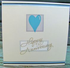 Blue Anniversary handmade card anniversary by RogueKissedCraft Happy Anniversary, Anniversary Cards, Romantic Cards, Love You, My Love, Love Heart, Unique Jewelry, Handmade Gifts, Frame