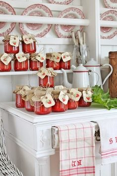 Love these jars of strawberry jam.  The tags are gorgeous!