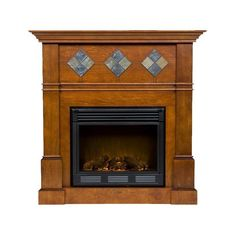 Allen Roth 62 In W Sienna Wood Media Console Electric Fireplace With Thermostat And Remote