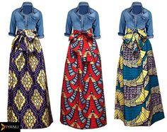 Denim and Ankara ~African fashion, Ankara, kitenge, African women dresses, African prints, African men's fashion, Nigerian style, Ghanaian fashion ~DKK
