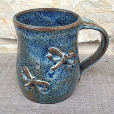 Double Dragonfly Wheel Thrown Stoneware Pottery Mug