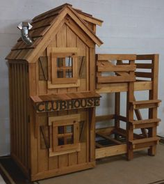 Rustic Cabin Clubhouse Bunk Bed with cedar roof, opening windows and hand crank lanterns!