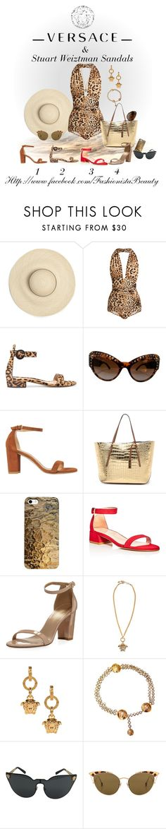 """Versace swimsuit and Weiztman Sandals"" by karen-foster-stewart on Polyvore featuring Norma Kamali, Gianvito Rossi, Versace, Stuart Weitzman, Michael Kors and Ahlem"