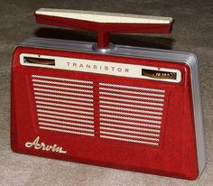 Vintage Arvin 5-Transistor AM Radio, Model 8584, Rotatable Antenna In Handle, Battery, Made In USA, Circa 1958.