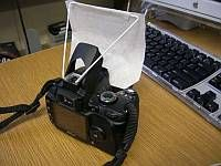 DIY built-in pop-up flash diffuser (soft screen)