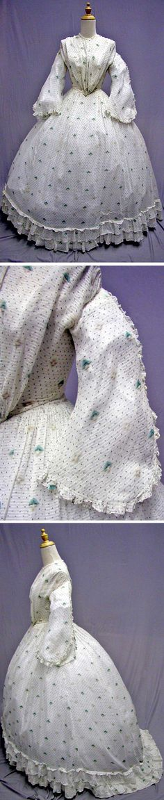 Summer day dress, 1865. Sheer cotton print. svpmeow1/ebay
