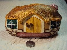 fairy house painted rock | email me at riverrockart@gmail.com to