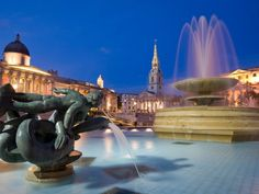Trafalgar Square at dusk, London, England:   images are part of our Free Wallpaper and Free Screensavers