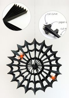Paper Web tutorial. Halloween 10, Halloween Paper Crafts, Halloween With Kids, Printable Halloween Decorations, Spider Decorations, Fall Paper Crafts, Halloween Printable, Halloween Activities, Herbst Halloween