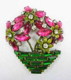 Signed-Sandor-Sterling-Silver-Enamel-Rhinestone-Flower-Basket-Pin-Brooch-Vintage
