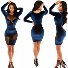New Outfits Women Mesh Patchwork Blue O-neck Full Sleeve Bandage Bodycon Evening Party Club Girl Casual Midi Dress