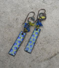 Chartreuse Green and Blue Enameled Earrings// Polka Dot Earrings//Artisan Earrings//Fun Earrings//Contents Jewelry on Etsy, $28.67 CAD