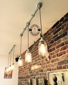 The Kenninghall 3 x Kilner hanging mason jar lights ceiling dinning room office kitchen table vintage edison filament lamps pendant Conduit Lighting, Drop Ceiling Lighting, Ceiling Light Fittings, Industrial Ceiling Lights, Barn Lighting, Vintage Lighting, Lighting Cable, Table Lighting, Dream Homes
