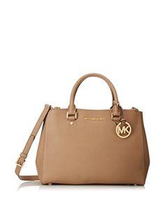 MICHAEL Michael Kors Sutton Medium Satchel Handbag Dark Khaki -- Continue to the product at the image link.