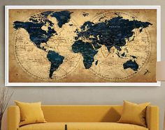 Push pin travel map Wall Art Print Extra Large by FineArtCenter & LARGE Wall Art World Map Push Pin Print / Watercolor World Map Print ...