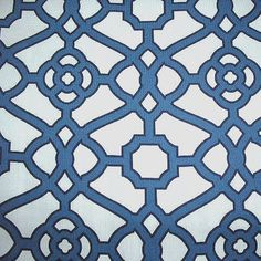 "Pavilion Navy Fretwork Indoor Outdoor Fabric by P Kaufman swatch - SW51946-Swatch - Fabric By The Yard At Discount Prices  12.95/yd 54"" wide"