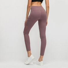 Mesh Naked-feel Fabric High Waisted Leggings Workout Leggings With Pockets, Yoga Pants, Naked, Tights, Athletic, Fitness, Fabric, How To Wear, Workouts