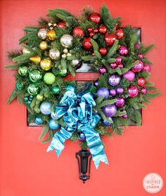DIY Festive Rainbow Wreath #12days72ideas #IBCholiday