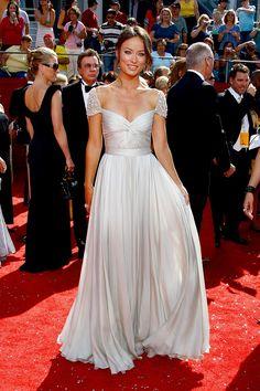Jessica Szohr Hollywood Red Carpet Dress Cap Sleeve Pleated Silver Chiffon