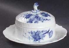Round Covered Butter in the Blue Flowers Curved Pattern by Royal Copenhagen.