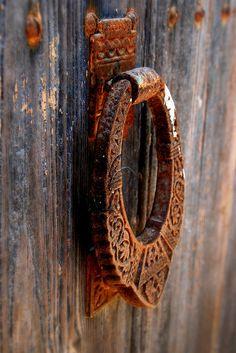Old door in Catalonia, Spain Door Knobs And Knockers, Antique Door Knobs, Cool Doors, Unique Doors, Door Detail, Door Accessories, Door Furniture, Door Locks, Windows And Doors