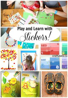 So many ideas for using stickers! These are great learning activities for kids, and great for creative play too. Airplane Activities, Kids Learning Activities, Creative Activities, Creative Play, Educational Activities, Fun Learning, Toddler Activities, Preschool Activities, Motor Activities