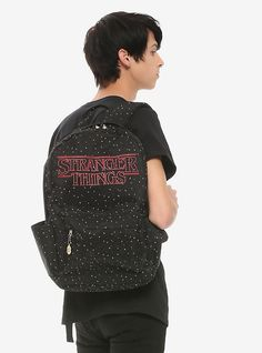 Loungefly Stranger Things Speckled Backpack, Stranger Things Merchandise, Stranger Things Logo, Galaxy Backpack, Pink Galaxy, Chibi Characters, Text Design, Beetlejuice, Lilo And Stitch, Black Backpack