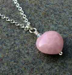 SALE-Pink, Rose, Quartz, Pendant, Swarovski Crystal, Silver Chain, Wire Wrapped - Handmade,Valentines Gift,Under 50 on Etsy, $29.99