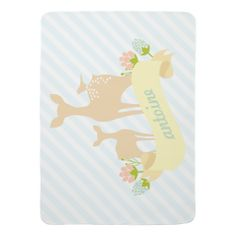 Cute Woodland Animals Fawn & Flowers Personalized Baby Blanket #nursery #blanket #baby #decor #custom #gifts