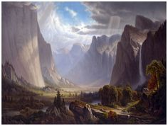 9071.Mountain range in western US.waterfall..POSTER.decor Home Office art  - Ideas of Mountain Canvas #MountainCanvas Landscape Concept, Landscape Artwork, Landscape Prints, Fantasy Landscape, Watercolor Landscape, Hudson River School, Yosemite Valley, Country Scenes, Pictures To Paint