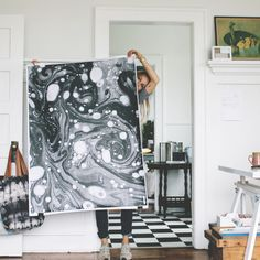 """Scout and Catalogue Guest artist poster: """"A Study in Marbling"""" B/W $60 Pink Paper $75"""