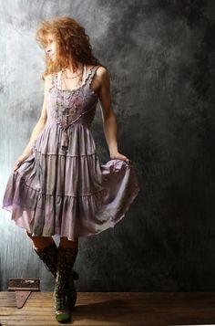 Vintage Bohemian Gypsy Style Hand Dyed Romantic Cotton Jersey Dress Crochet Bodice Ruffle Hem Upcycled Dusty Violet Upcycled