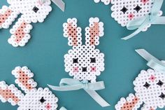 Sweet Easter bunny in hama beads and a small bow to give the final push.Find a free printable template on the blog