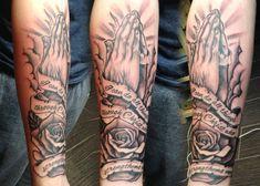 Praying Hands religious tattoo by Adam at Black Apple Studios in Sudbury, Ontario Canada - www.blackapplestudios.com