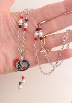 Drop of Silver NFL Football Atlanta Falcons Cluster Crystal Logo Necklace in Deep Red Black