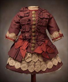 BRU antique dresses | antique doll dress | Antique French Silk DRESS for Jumeau Bru Steiner ...