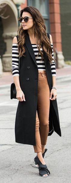 Sleeveless Black Coat, Striped Off Shoulder Coat, Camel Skinnies, Black Bowed Sandals | Hello Fashion