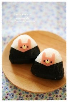 Rabbit Onigiri (they look like dogs to me, though - like corgies)