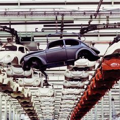 The classic Volkswagen Beetle has one the most distinct car bodies in history. This photo was taken at the production plant in Wolfsurg.
