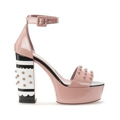 REDValentino Women's Studded Heeled Sandals - Nude (€655) ❤ liked on Polyvore featuring shoes, sandals, nude, women shoes, studded shoes, high heel shoes, famous footwear and nude sandals