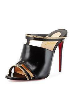 Akenana Red Sole Mule Pump, Black/Gold by Christian Louboutin at Neiman Marcus.