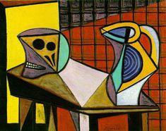 Crane and pitcher, 1945 by Pablo Picasso, Neoclassicist & Surrealist Period. Cubism, Surrealism. still life