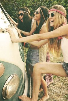 Hippie girls w/ VW Bus