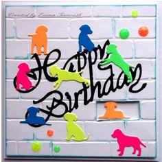 Neon Doggie's Birthday card, Stampin Up Brick embossing folder