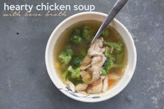 Hearty chicken soup with bone broth