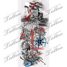 Trash polka nautical sleeve. | revisions #209648 | CreateMyTattoo.com